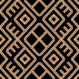 ゴールドチェーン飾りのシームレスパターン