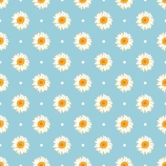 カモミールのシームレスパターン。レトロな青い水玉のデイジー