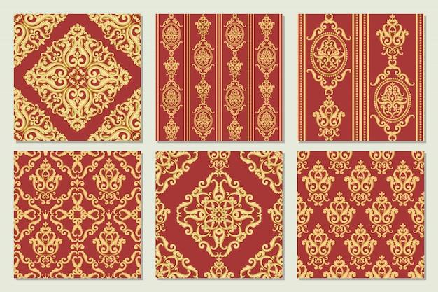 シームレスなダマスク織パターンのコレクションを設定します。ビンテージの豊かなロイヤルスタイルの金と赤のテクスチャ。ベクトルイラスト