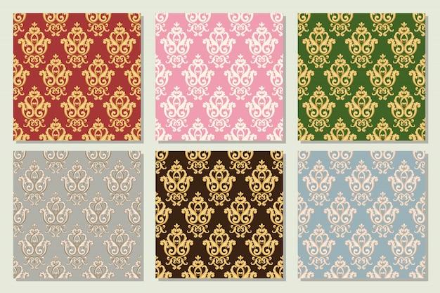 さまざまな色でシームレスなダマスク織パターンのコレクションを設定します。ヴィンテージ豊かなロイヤルスタイルのテクスチャ。ベクトルイラスト