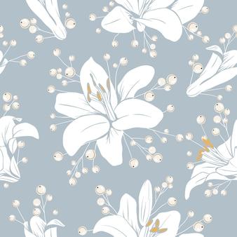 花とのシームレスなパターン。ユリの花の質感。手描きの植物のベクトル図