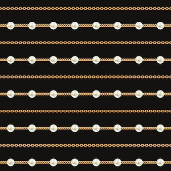 黒地にゴールドのチェーンラインのシームレスパターン