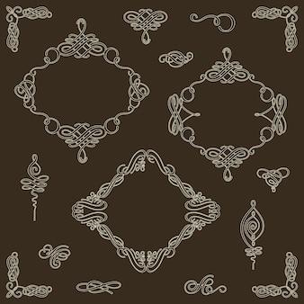 ベクトルカリグラフィ要素とページ装飾のコレクションを設定します。