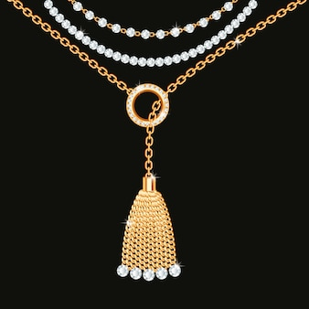 黄金の金属製のネックレスと背景