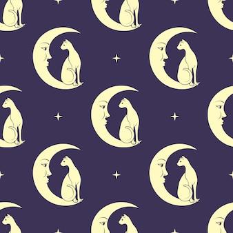 月に座っている猫。夜空のシームレスなパターン背景。かわいい魔法、オカルト。