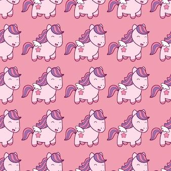 ピンクの背景に分離されたかわいい和風のペガサスとのシームレスなパターン。