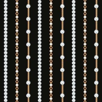 黒地にゴールドチェーンラインのシームレスパターン。
