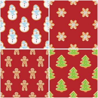 ジンジャークッキーのシームレスパターン。クリスマスと新年の背景は、コレクションを設定します。