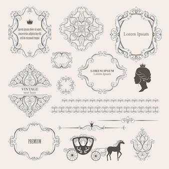 メガは、ビンテージデザイン要素のコレクションを設定します。