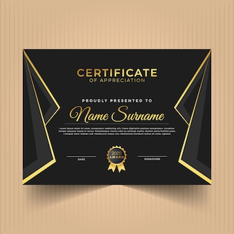 Сертификат оформления диплома за достижения с золотыми линиями