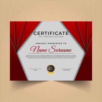 Сертификат благодарности с темно-красными цветами