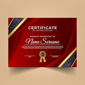 Сертификат достижений с темными цветами и формами