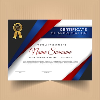 Сертификат достижений дизайн шаблона с абстрактными формами
