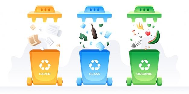 分離とリサイクル。ゴミやゴミの容器。