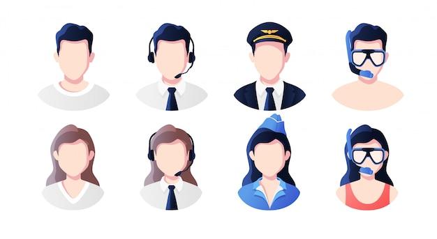 職業、職業人アバターセット。サポート、パイロット、スチュワーデス、行楽客。プロフィール画像アイコン。男性と女性の顔。かわいい漫画のモダンなシンプルなデザイン。フラットスタイルの図。