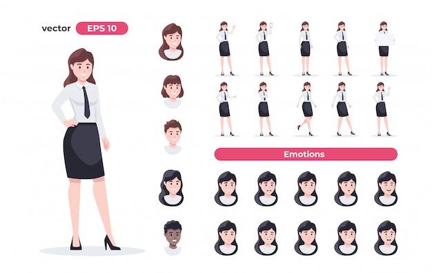 実業家セット。職場の女性。スーツのオフィスワーカー。さまざまなポーズとアクションの漫画の人々。アニメーションのかわいい女性キャラクター。シンプルなデザイン。フラットスタイルの図。