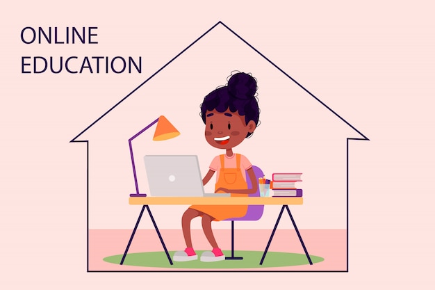 Девушка изучает онлайн с ноутбуком за столом у себя дома. векторная иллюстрация плоский для веб-сайтов. карантин остаться дома пандемии