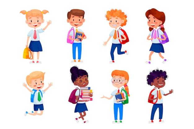 子供たちは学校に行きます。学校のイラストに戻る。孤立した白地の子供教育イラスト。