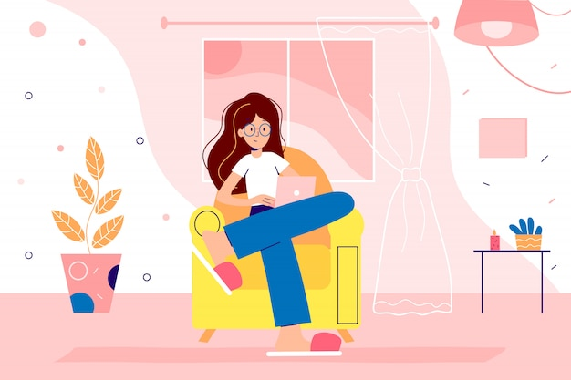 Девушка работает из домашнего офиса на карантине. женщина работает дома с ноутбуком за столом и защищает себя от коронавируса. карикатура иллюстрации для веб-дизайнеров.