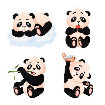 Набор иллюстрации милый ребенок панды