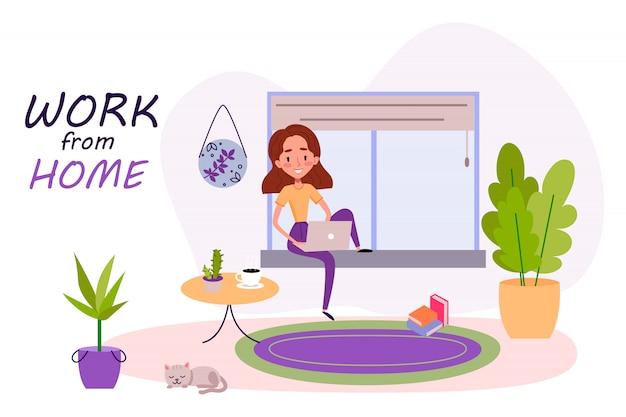 Девушка сидит на окне с ноутбуком и работает из дома на карантине. кошка спит дома возле растений и ковров. все сидят дома. мультфильм иллюстрация