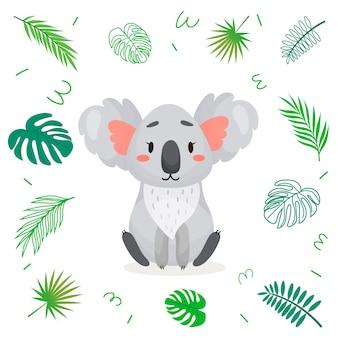 熱帯の葉のかわいい漫画コアラ。