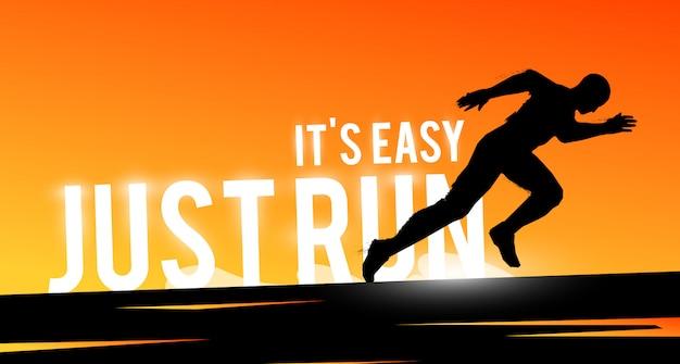 Спортивный веб-баннер. мотивационная концепция. бегун силуэт человека.