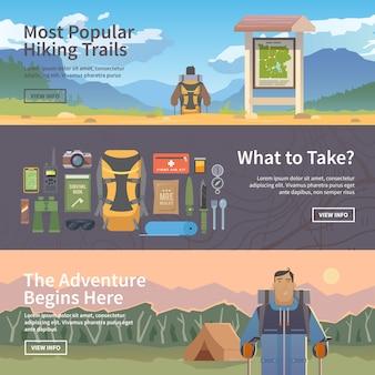 Плоские веб-туристические баннеры.