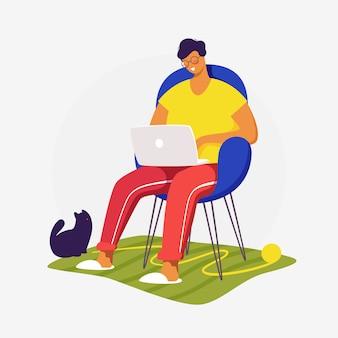 Плоская концепция иллюстрации. фрилансер работает на дому с кошкой. креативная посадка веб-страницы дизайн изображения.