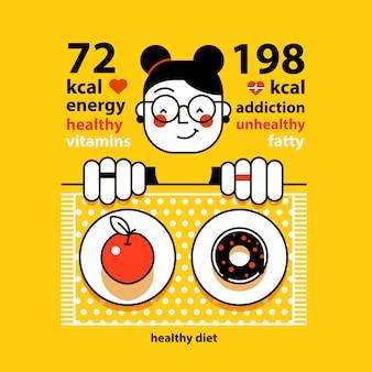 面白い女の子はアップルとドーナツの間を選択しています。あなたはいくつのカロリーを食べるべきですか