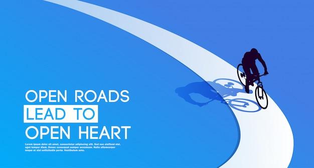 開かれた道路は開かれた心につながります。サイクリング。自転車。サイクリストのシルエット。