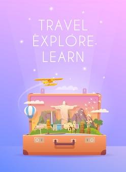 南アメリカへの旅行。ロードトリップ。旅行の垂直バナー。ランドマークのあるスーツケースを開きます。放浪癖。フラットスタイル。