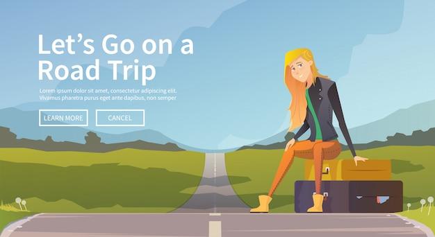 道路の近くのスーツケースに座っている女性。若い女の子の旅行者。冒険旅行