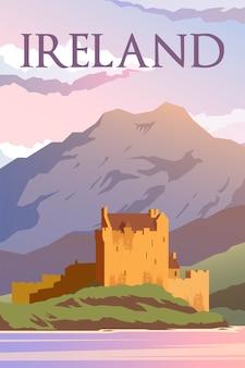 Ретро постер замок в ирландии. туристический плакат. дизайн.