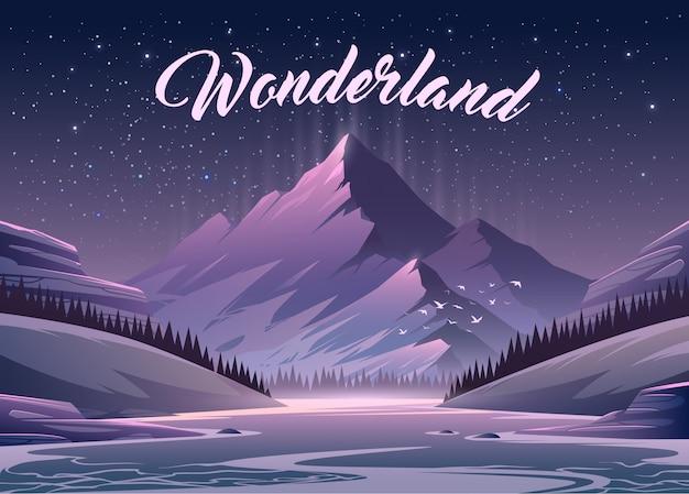 Невероятный горный пейзаж. иллюстрации. захватывающий вид. великая гора окружена рекой.