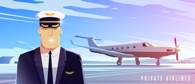 立っている飛行機。飛行機で旅行します。パイロット。