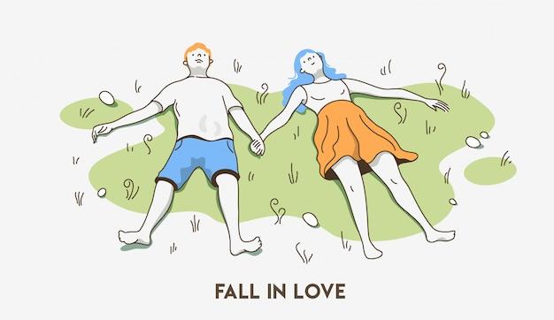 История о любви. выходные за городом. вид сверху.