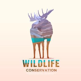 アメリカの野生動物、野生での生存、狩猟、キャンプ、旅行のテーマのイラスト。山の風景。ムース。