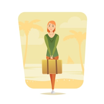 Молодая женщина стенд с чемоданом. молодая девушка путешественница. приключенческое путешествие. летний отпуск. вокруг света. мультяшный стиль иллюстрации.