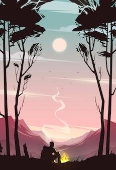 Невероятный горный пейзаж. современная концепция иллюстрации.
