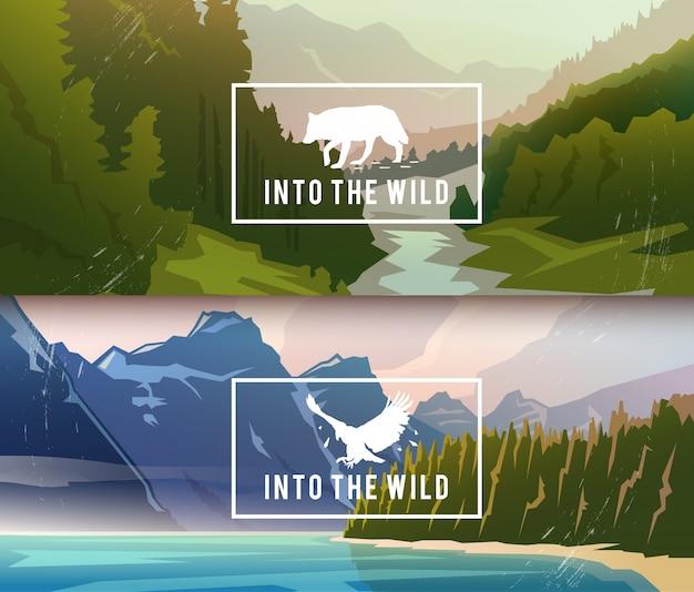 Пейзажные баннеры на темы: природа канады, выживание в дикой природе, охота. иллюстрации.