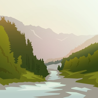 Пейзаж на темы: природа канады, выживание в дикой природе, кемпинг. иллюстрации.