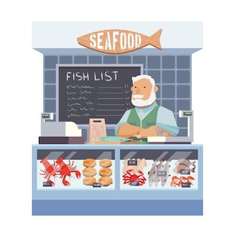 Магазин морепродуктов. плоский дизайн