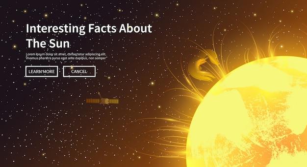 Иллюстрация на тему: астрономия, космический полет, освоение космоса, колонизация, космическая техника. веб-баннер. солнце