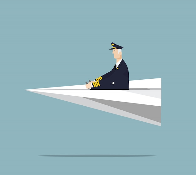 Пилот авиакомпании, управляющий бумажным самолетом.