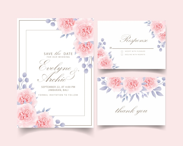 Свадебные приглашения цветочные розы