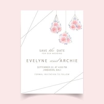 結婚式招待状花バラ