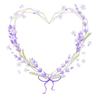 ラベンダーの花の水彩画と美しい花のフレーム