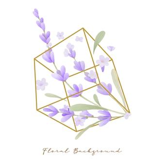 テラリウムでラベンダーの花の水彩画と美しい花の背景