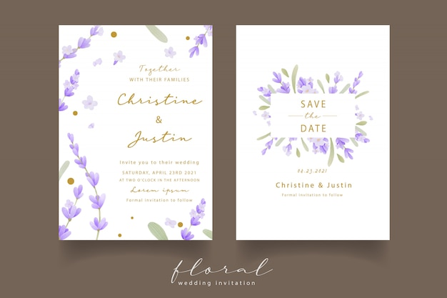 ラベンダー水彩の結婚式の招待状